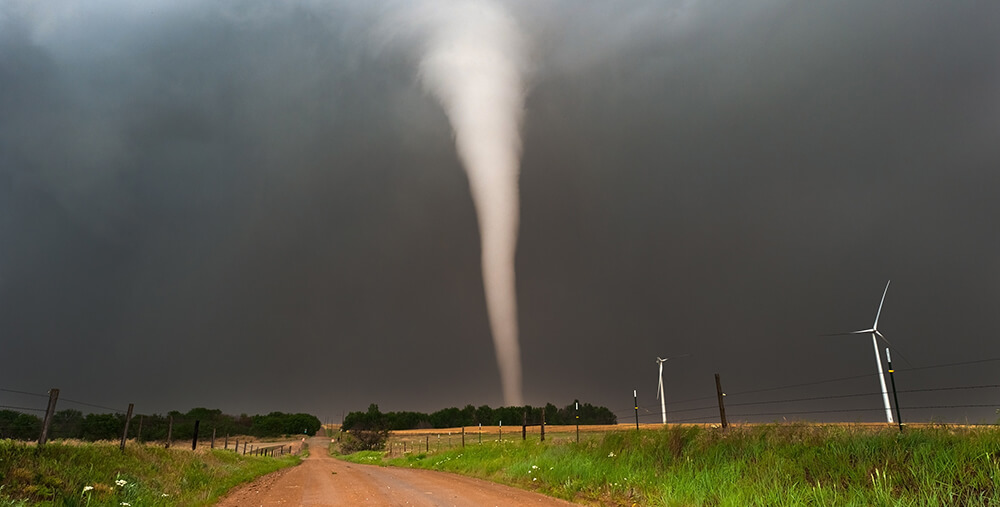 Tornado on a dirt road
