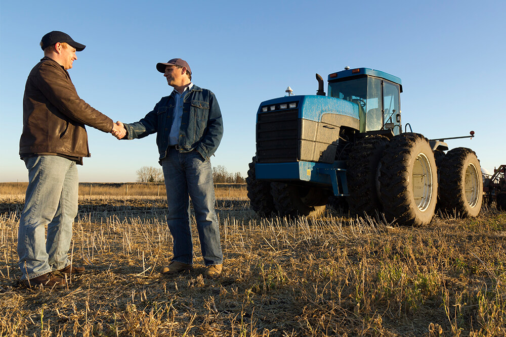 Men shaking hands in field